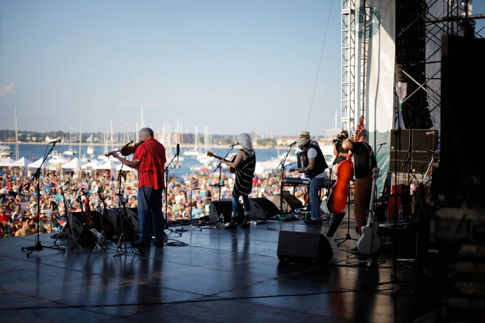 Emmylou Harris on stage at Newport Folk Festival