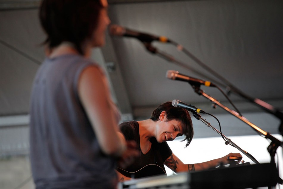 Tegan And Sara onstage at the Newport Folk Festival