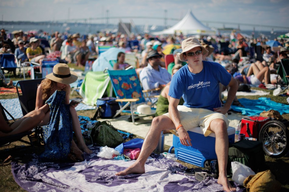 Crowd on picnic blankets at Newport Folk Festival