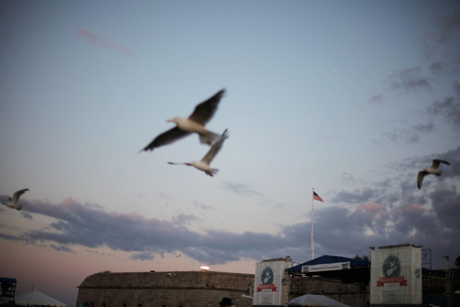 Seagulls fly at dusk over the Newport Folk Festival.