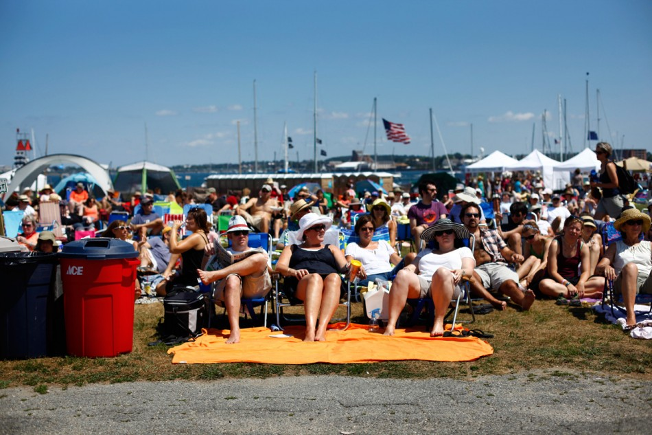 The crowd in lawn chairs at the Newport Folk Festival