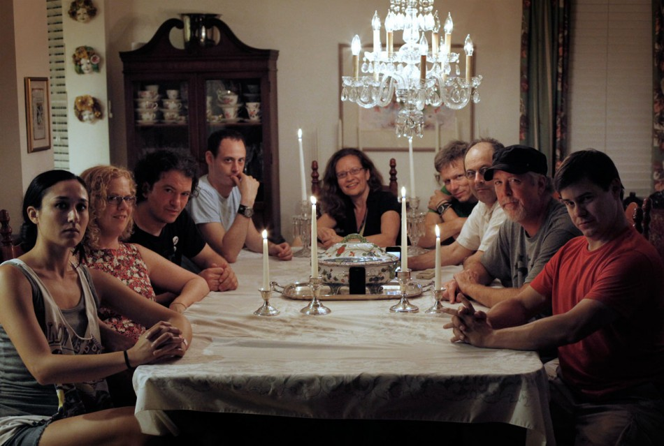 NPR Music's Newport Folk Fest family around the dinner table.